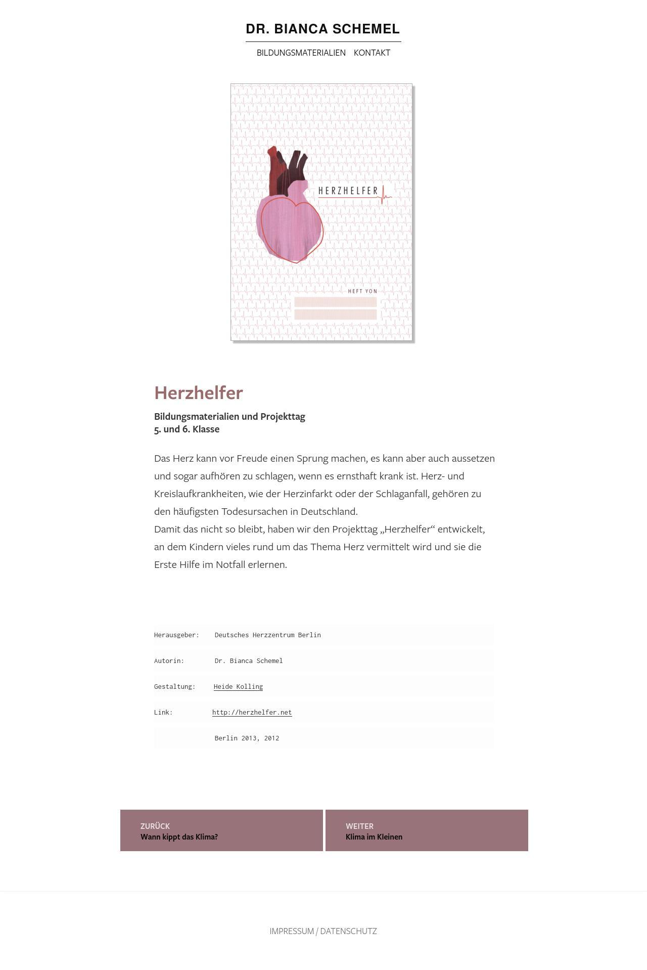 Screenshot Projekt Seite